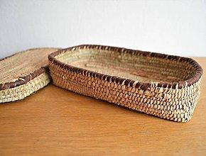 Krabičky - Prútená šperkovnica | EGYPT wicker jewelry box straw and natural leather - 10509714_