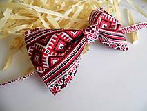 Doplnky - Pánsky motýlik folkový červená  - 10509461_