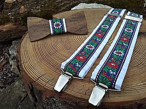 Doplnky - Folklórny set - pánsky drevený motýlik a traky - 10508827_