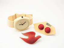 - Sada hodinky, náušnice bobule a holubička ruby red - 10508452_