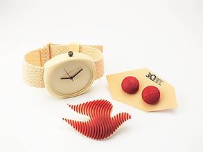 Sady šperkov - Sada hodinky, náušnice bobule a holubička ruby red - 10508452_