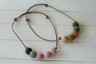 Náhrdelníky - Plstený náhrdelník na  koženej šnúrke (Zelená) - 10508935_