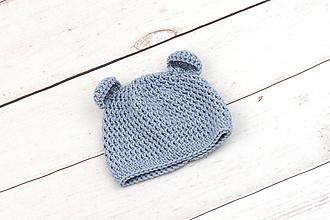 Detské čiapky - Modrá čiapka macko zimná EXTRA FINE - 10509027_
