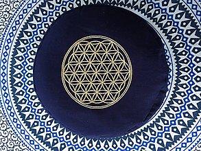 Úžitkový textil - Meditčný vankúš Kvet života modrý - 10510337_