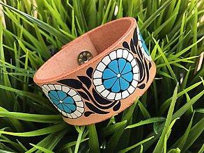 Náramky - Kožený ručne maľovaný náramok Folk - 10507904_