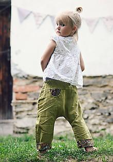 Detské oblečenie - Lněné kapsičkové zelené - 10507913_