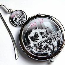 Zrkadielka - sada Mačiatko - zrkadielko, záložka - 10509464_