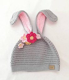 Detské čiapky - Zajkova čiapočka s kvietkami JAR/JESEŇ - 10509275_
