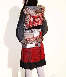 Sukne - lel set,bohemian sukňa a vesta škót - 10512099_