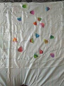 Šatky - Hodvábna šatka tulipány na bielom podklade - 10513535_