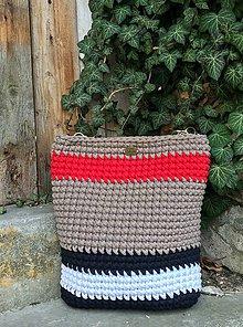 Kabelky - LanaBag čierno-bielo-béžovo-červená - 10514988_