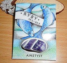 Magnetky - magnetka-znamenie RYBY-ametyst - 10515122_