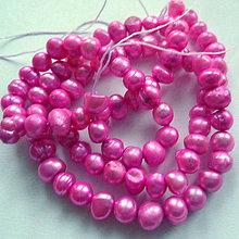 Korálky - Sladkovodné perly-návlek cca 36cm (4-5mm-fial.ružová) - 10514995_