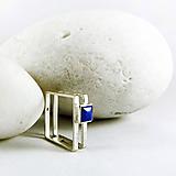 Prstene - Stříbrný prsten unisex s lapislazuli Sq - 10511803_