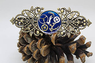 Iné šperky - Velká steampunková spona do vlasů - modrá - 10512258_