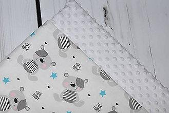 Textil - Minky deka Cute Teddy *blue* - 10512852_