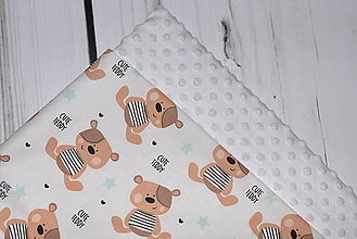 Textil - Minky deka Cute Teddy *mint* - 10512870_
