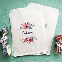 Papier - papierové vrecko Ďakujem s kvetinami - 10515055_