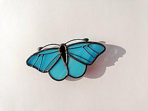 Odznaky/Brošne - Motýlia brošňa (Tyrkysová) - 10514524_