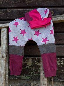 Detské súpravy - Ružové hviezdy - pudláče s čiapkou - 10511825_