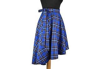 Sukne - FIONA - asymetrická zavinovacia sukňa (D2 - modré káro) - 10514801_