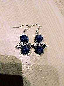 Náušnice - Modré Shamballa nausnice - 10514531_