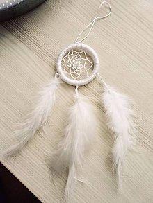 Dekorácie - Biely malý lapač snov - 10514605_