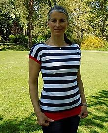 Tričká - Modro - bílé s červenou...S-XXL... - 10513454_