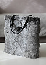 Veľké tašky - Koženo-kožušinová SHOPPER kabelka-ČIERNO-SIVÁ - 10512591_