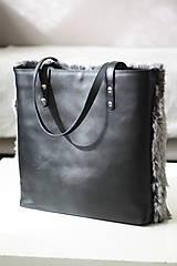 Veľké tašky - Koženo-kožušinová SHOPPER kabelka-ČIERNO-SIVÁ - 10512594_