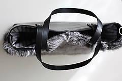 Veľké tašky - Koženo-kožušinová SHOPPER kabelka-ČIERNO-SIVÁ - 10512595_