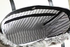 Veľké tašky - Koženo-kožušinová SHOPPER kabelka-ČIERNO-SIVÁ - 10512596_