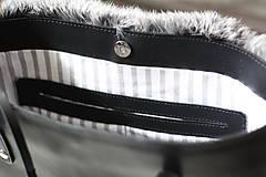 Veľké tašky - Koženo-kožušinová SHOPPER kabelka-ČIERNO-SIVÁ - 10512597_