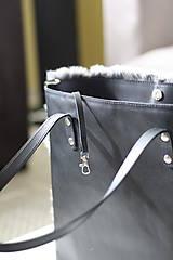 Veľké tašky - Koženo-kožušinová SHOPPER kabelka-ČIERNO-SIVÁ - 10512600_