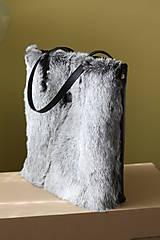Veľké tašky - Koženo-kožušinová SHOPPER kabelka-ČIERNO-SIVÁ - 10512601_