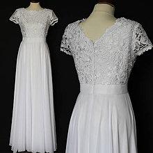 Šaty - Svadobné šaty z hrubej krajky a kruhovou šifónovou sukňou - 10514504_