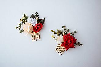 Ozdoby do vlasov - Jemný červený hrebienok - 10513888_