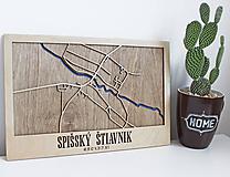 Nástěnná drevena mapa Spišský Štiavnik