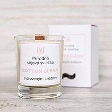 Svietidlá a sviečky - Sójová sviečka COTTON CLEAN - vôňa čistoty - 10513968_