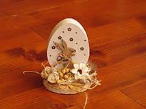 Dekorácie - Veľkonočné drevené vajíčko so zajačikom  - 10513272_