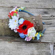 Ozdoby do vlasov - Čelenka s makom, lúčna, folklórna, slovenská - 10516932_
