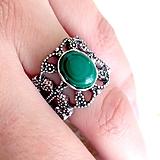Prstene - Filigree Romantic Malachite Ring / Filigránový prsteň s malachitom /2031 - 10516778_