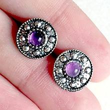 Náušnice - Vintage Amethyst Stud Earrings / Náušnice s ametystom #2043 - 10515870_