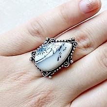 Prstene - Teardrop Dendritic Opal Ring / Prsteň s dendritickým opálom v tvare slzy #1511 - 10516075_