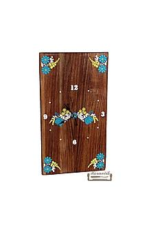Hodiny - Orechové hodiny s kvetinovým motívom - 10516112_