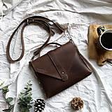 Kabelky - Kožená kabelka Lina (hnedá) - 10516565_