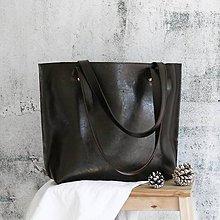 Kabelky - Kožená kabelka Lea (dark brown) - 10515491_