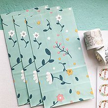 Papier - veľké papierové darčekové vrecká Flora (Tyrkysová) - 10515992_