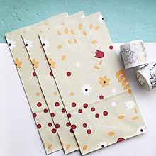 Papier - veľké papierové darčekové vrecká Flora (Béžová) - 10515995_