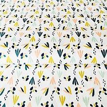 Textil - pestré lístky, 100 % bavlna Francúzsko, šírka 150 cm - 10515422_